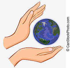 vector hands and earth isolated on white background