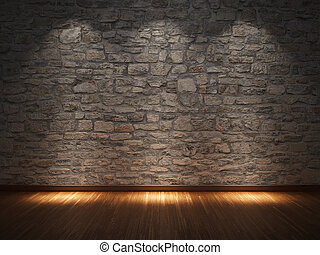 Interior room with stone wall and wooden floor