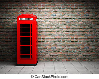Classic red telephone booth at the brick wall