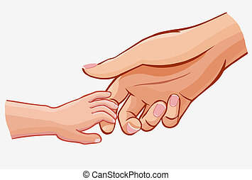 child holding woman's hand,vector illustration isolated on...