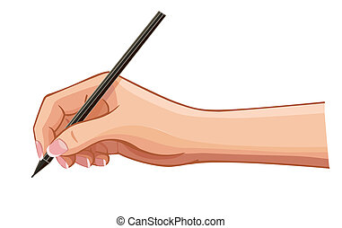 vector female hand with a pen wrote a message on a...
