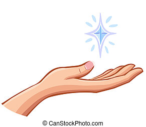 vector Female right hand holding something valuable isolated...