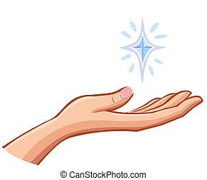 vector, hembra, derecho, mano, tenencia, Algo, valioso,...