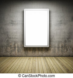 Blank advertising billboard in Interior room with grunge...