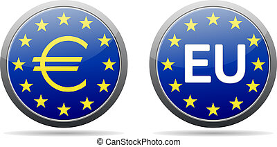 Euro sign button - EU button with gold (yellow) stars and...