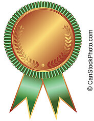 Bronze medal with green ribbon on white background