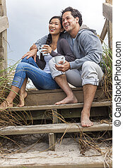 Asian Man Woman Romantic Couple on Beach Steps - Young Asian...