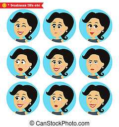 Facial emotions icons set - Business women life Facial...