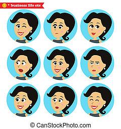Facial emotions icons set - Business women life. Facial...
