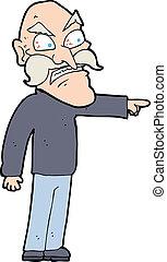 cartoon furious old man