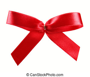 red satin ribbon gift bow isolated on white