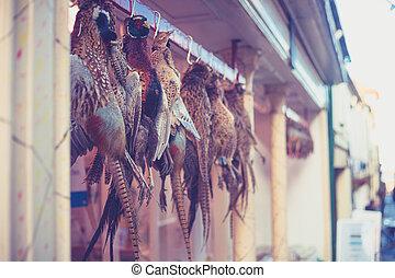 Pheasants, hanging, outside, butcher's, shop