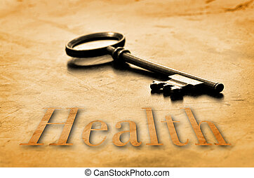 Key to Health on an old worn wooden desk top