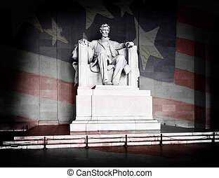 Lincoln Memorial and American Flag - Abraham Lincoln at the...