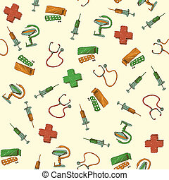Seamless medicine and healthcare background vector...