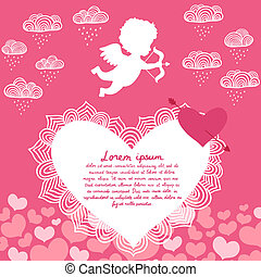 Valentines day angel with bow flyer or print vector...