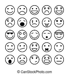 smiley, caras, elementos, site Web, desenho