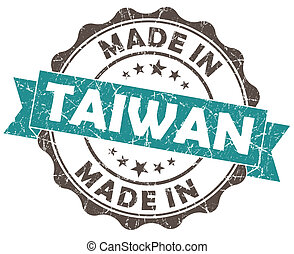 made in taiwan turquoise grunge seal isolated on white...