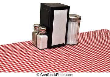 Diner Table - Table with red gingham tablecloth at diner...