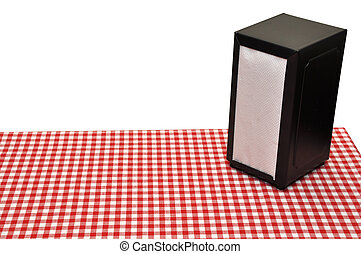 Diner Table - Napkin holder on diner table Isolated on white...