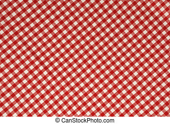 Red Gingham Background - Red gingham fabric background.