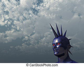 mohawk - blue human mohawk head in front of cloudy sky - 3d...