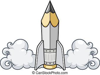 Criativo, conceito, LÁPIS, foguete