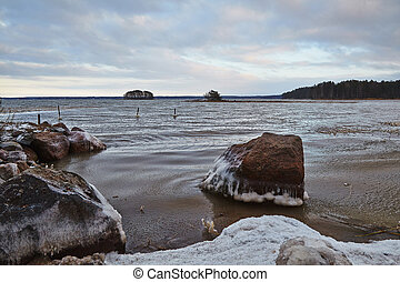 Finnish lake in december. Cluody day