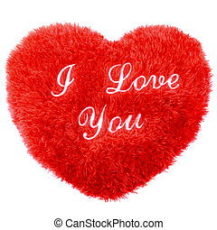Fluffy I Love You heart shape Valentines Day pillow