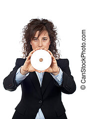 Business woman holding a dvd disc over a white background...