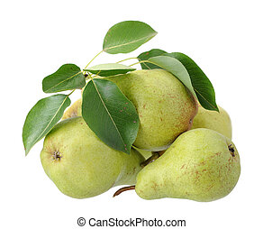 ripe pear and leaves isolated on white