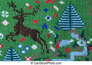 Brown deer 3 - Vintage cross stitch pattern with deer