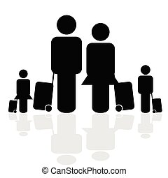 family travel icon vector illustration