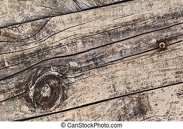 Old Knotted Cracked Rough Textured Plank - Detail - Old,...