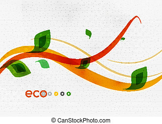 Green eco nature minimal floral concept | flying leaves |...