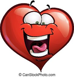 Heart Faces Happy Emoticons - LOL - Cartoon Illustration of...