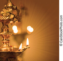 diwali indian oil lamp with traditional background