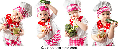 Collage of Baby cook girl wearing chef hat with fresh...