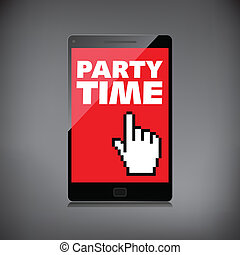 Party time words display on High-quality smartphone screen