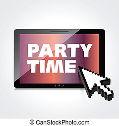 Party time words display on High-quality tablet screen
