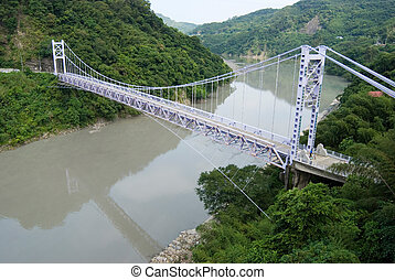 Suspension bridge btween mountains, Taiwan, East Asia