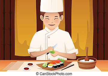 Sushi chef working in a restaurant - A vector illustration...