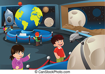 Kids on a field trip to a planetarium - A vector...
