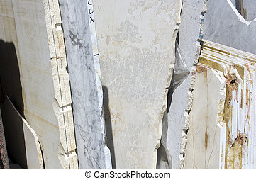 white marble slabs - A stack of white marble slabs, Tuscany,...