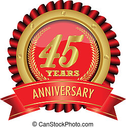 45 years anniversary golden label with ribbons.Vector