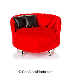 Red sofa, couch