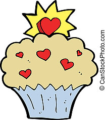cartoon love heart cupcake