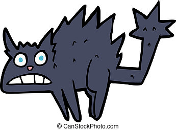 cartoon frightened black cat