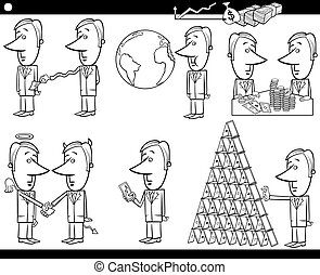 business cartoon concepts and ideas set - Black and White...
