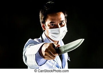 Doctor Serial Killer psychosis hold knife - Doctor man...